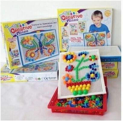 多 智力拼插296 粒蘑菇釘玩具套裝,幼稚園早教玩具