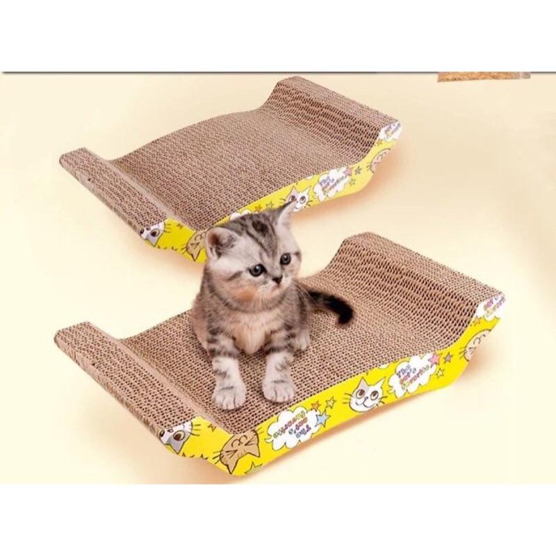 Money 寵物窩 環保瓦楞紙貓抓板買就送貓薄荷小魚款除外貓玩具貓沙發直板波浪形磨爪玩具瓦