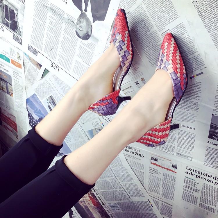 2016 百搭 尖頭性感細跟羅馬涼鞋 中高跟鞋中空單鞋女鞋