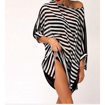 性感泳裝海灘罩衫上衣女裝泳裝超大黑色白條紋性感打扮