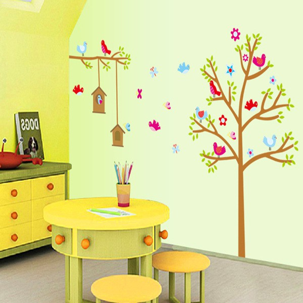 ❤限宅配❤ 小鳥樂園牆貼 可移除客廳電視牆壁背景裝飾貼紙畫AY9097