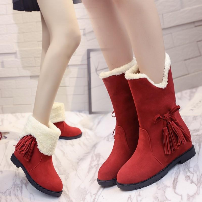 ~懷舊小舖~ 磨砂皮短靴毛毛雪地靴加絨流蘇棉鞋女鞋保暖短筒靴學生鞋
