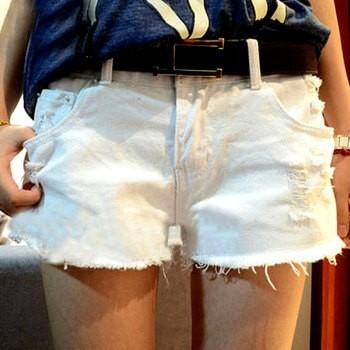 EASON SHOP GU0367 磨破洞抽鬚短褲顯瘦寬鬆大碼熱褲純色單色單寧短褲白色黑色