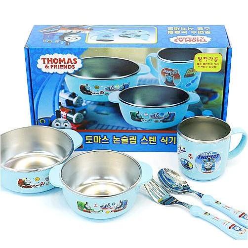 韓國~Thomas 湯瑪士不鏽鋼餐具組 五件組~大碗小碗水杯湯匙叉子