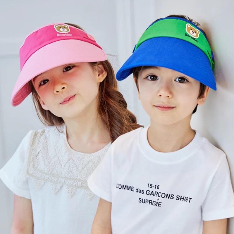 韓國BG 品牌帽兒童帽子大帽檐空頂帽男女寶寶防曬帽夏天吸汗遮陽帽