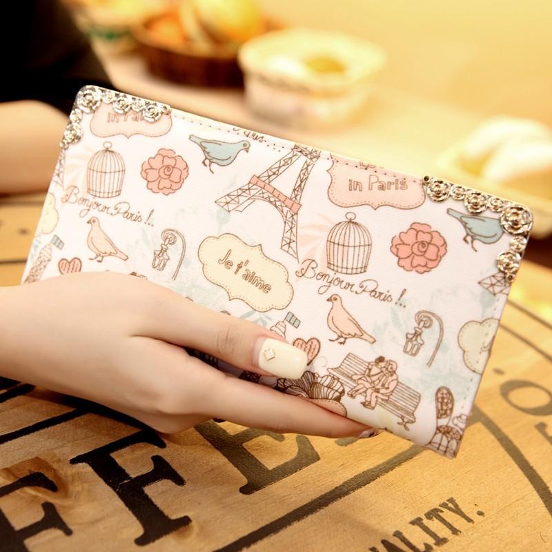 當天發款 長款錢包拉鍊包印花手機包可愛小清新手拿包女士錢夾