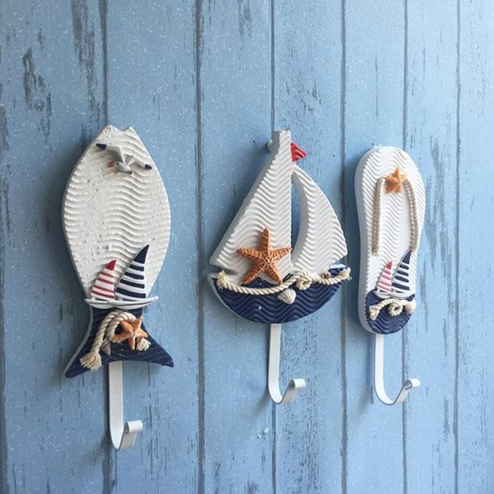 地中海掛勾海洋風沙灘木製掛衣帽包壁掛鈎收納牆面 民宿廚房衛浴小孩房裝飾森林系鄉村風壁鉤~帆
