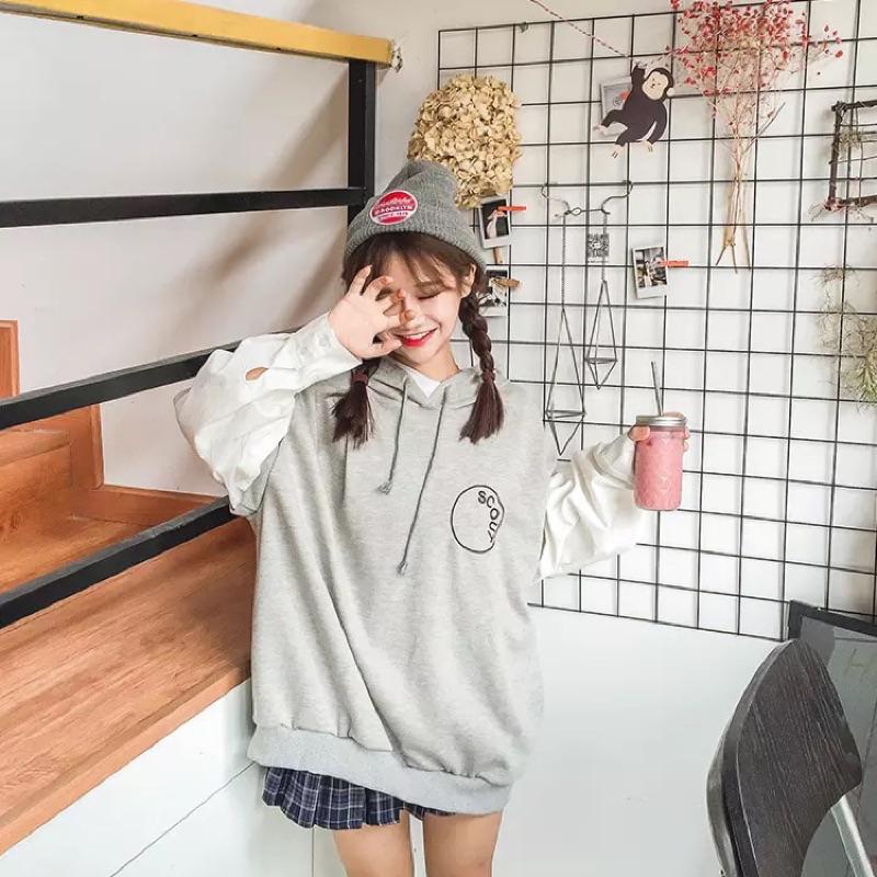 秋裝女裝 假兩件字母刺繡寬鬆長袖連帽套頭衛衣外套學生上衣潮