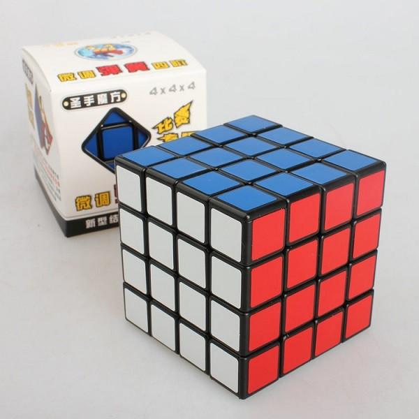 完整盒裝四階魔術方塊聖手魔方PVC 光面貼紙四階魔方聖手 黑底黑色魔術方塊高 比賽 魔術方