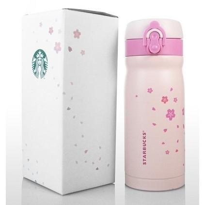 日系星巴克同款不鏽鋼粉紅色櫻花彈蓋保溫杯