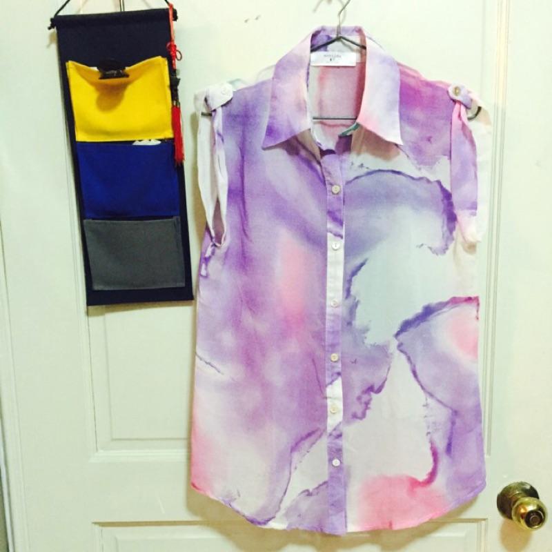 韓貨紫彩渲染無袖襯衫