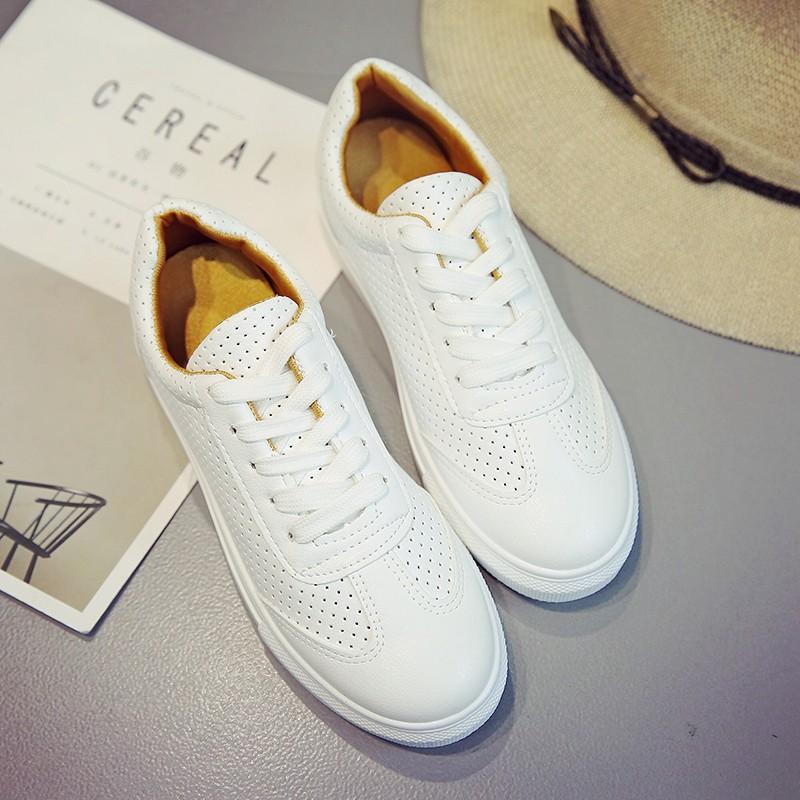 百搭小白鞋系帶學生女鞋 白色帆布鞋厚底板鞋平底 布鞋