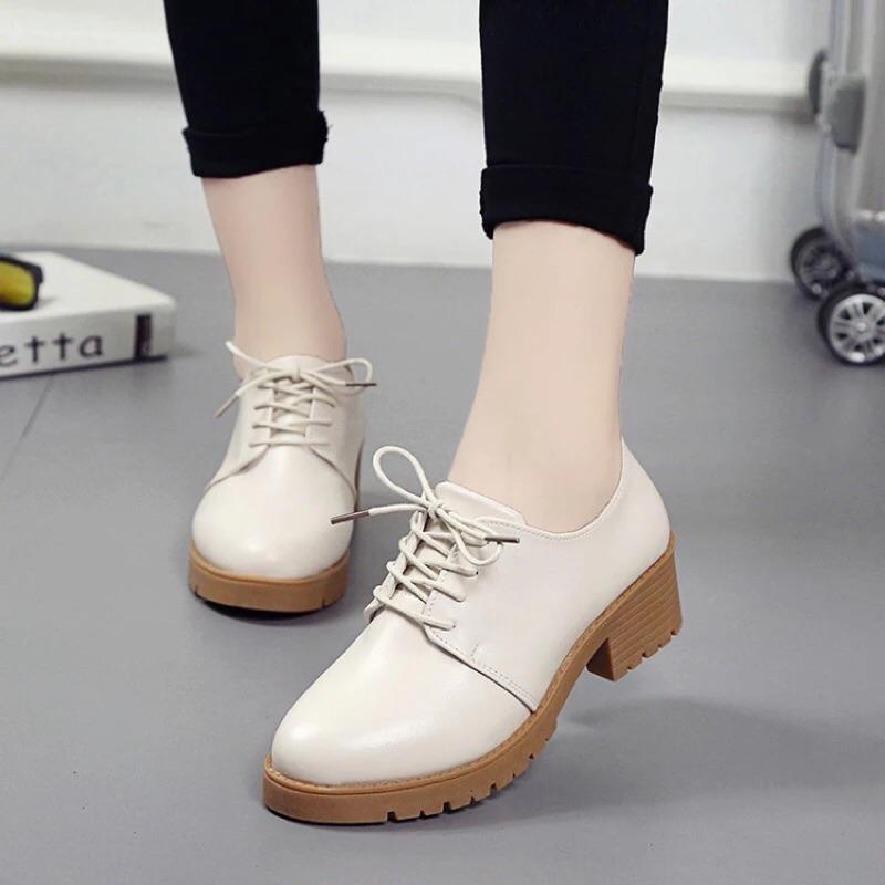 英倫復古女單鞋學生圓頭繫帶中跟粗跟小皮鞋學院風厚底女鞋潮