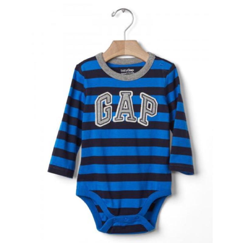 Gap 徽標gap logo 立體拼布刺繡藍色條紋長袖包屁衣
