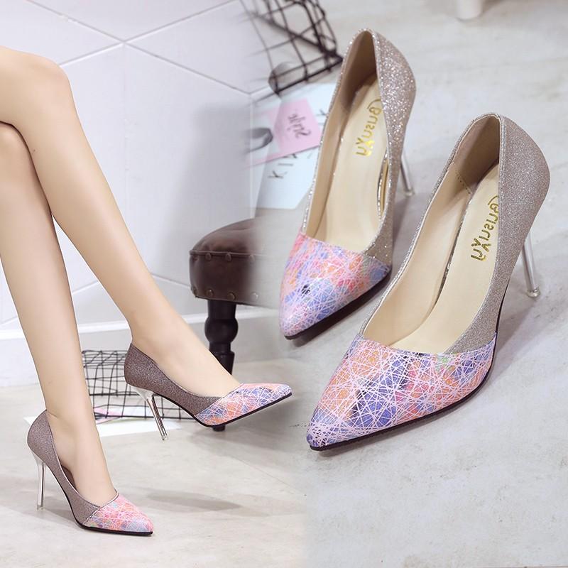 正品 英倫性感編織印花低跟細跟尖頭鞋OL 百搭淺口高跟單鞋拼色菱格高跟套腳女士辦公工作女鞋