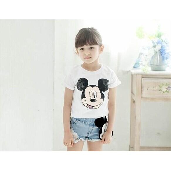 韓風寶貝KD075 韓國女裝米奇牛仔短褲米奇短袖T 親子裝