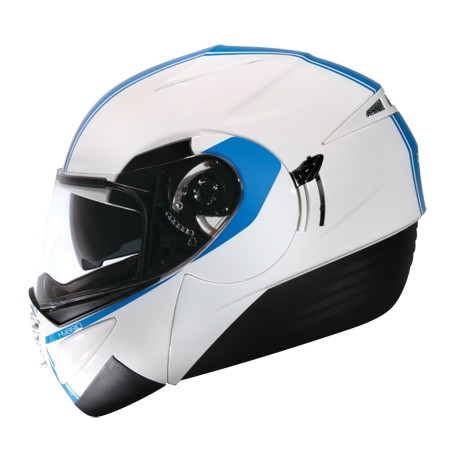 ZEUS ZS 3010 白AE1 藍~可掀式安全帽~三段式可調內藏鏡片開關