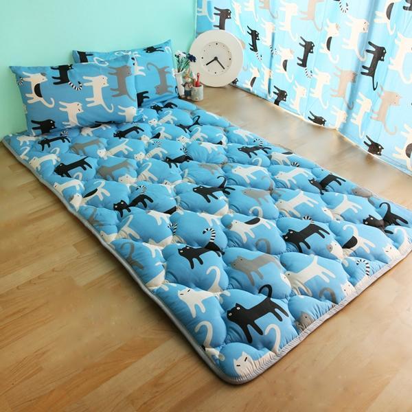 ~換季 ~單人3 尺可愛涼感日式收納床墊藍色喵喵