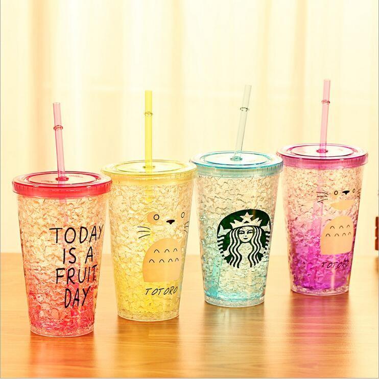 字母雙層吸管杯星巴克龍貓隨手杯PC 雙層果汁杯飲料杯含吸管