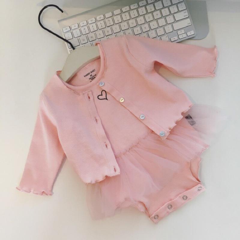 辣媽與萌寶[ ]嬰兒女寶寶套裝空調開衫上衣背心網紗裙連體哈衣爬服兩件套外套包屁衣兩件式套裝
