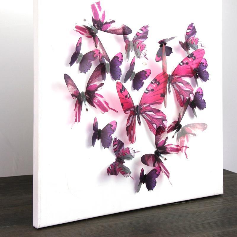 HomePlus 3D 夢幻蝴蝶玫紅色18 入組立體壁飾壁貼裝飾婚禮小物