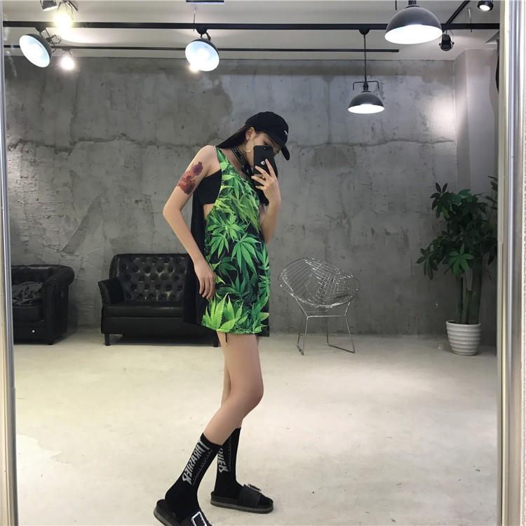 ~SUZA ~原宿風複古17ss 大麻葉印花無袖背心裙籃球衣中長款