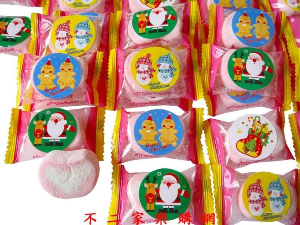 不二家樂購網~超取399 聖誕節閃閃心型草莓棉花糖200g135 元聖誕老公公雪人薑餅人聖