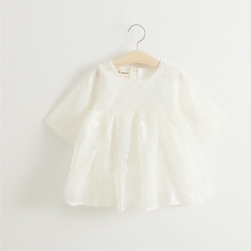 花朵網紗中袖連衣裙