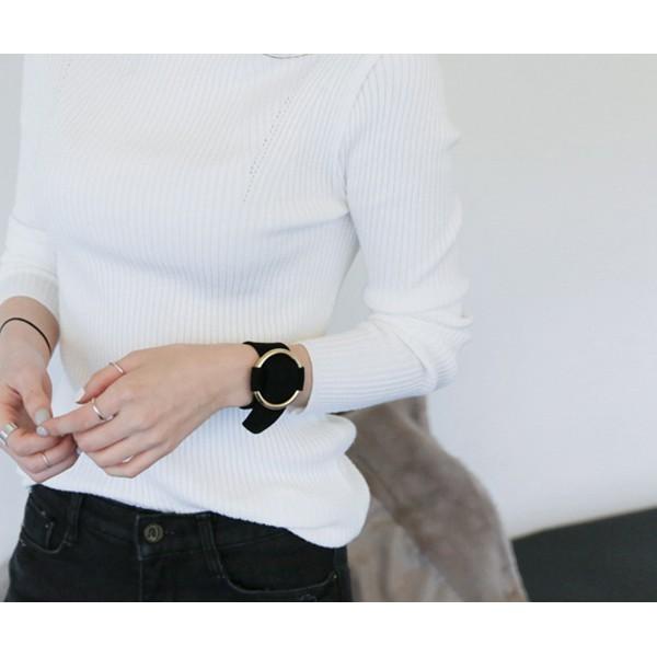 韓國大牌拇指家庭拇指家庭手腕帶黑色深藍金圓環粗款極簡鹿皮絨情侶男女hm