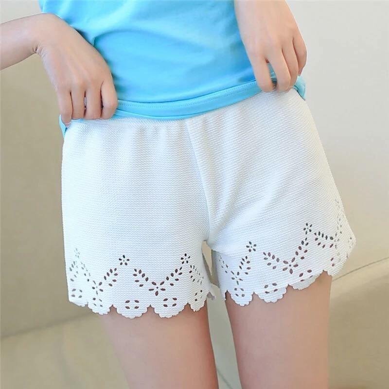 鏤空鉤花邊剪裁修身超顯瘦安全褲