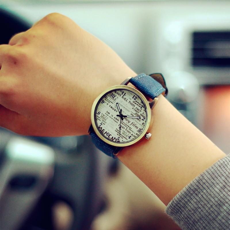 韓國 潮流復古牛仔帆布皮表帶古銅手表 英文男女學生學院風