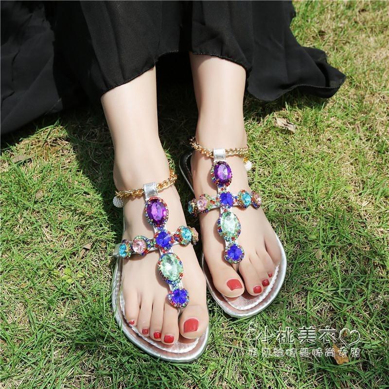 羅馬涼鞋女 夾腳趾波西米亞 平跟一字扣水搭扣平底潮
