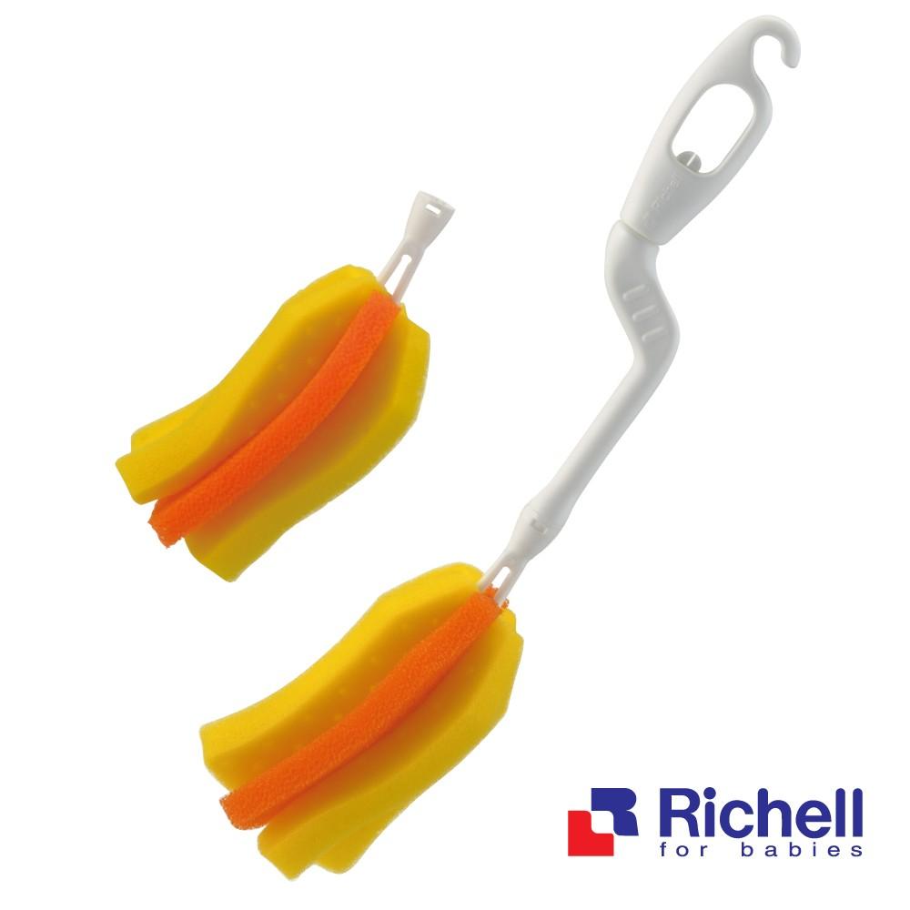 Richell 利其爾銀離子抗菌360 旋轉可拆式奶瓶刷替換海綿