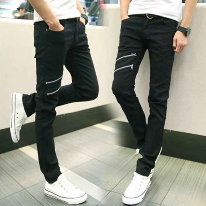 潮流單品 復古男士牛仔褲 男潮修身彈力小腳褲子黑色拉鏈不規則