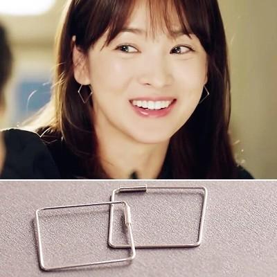 PETIT BAZAR 韓國韓劇宋慧喬太陽的後裔同款簡約氣質幾何方形耳環一對