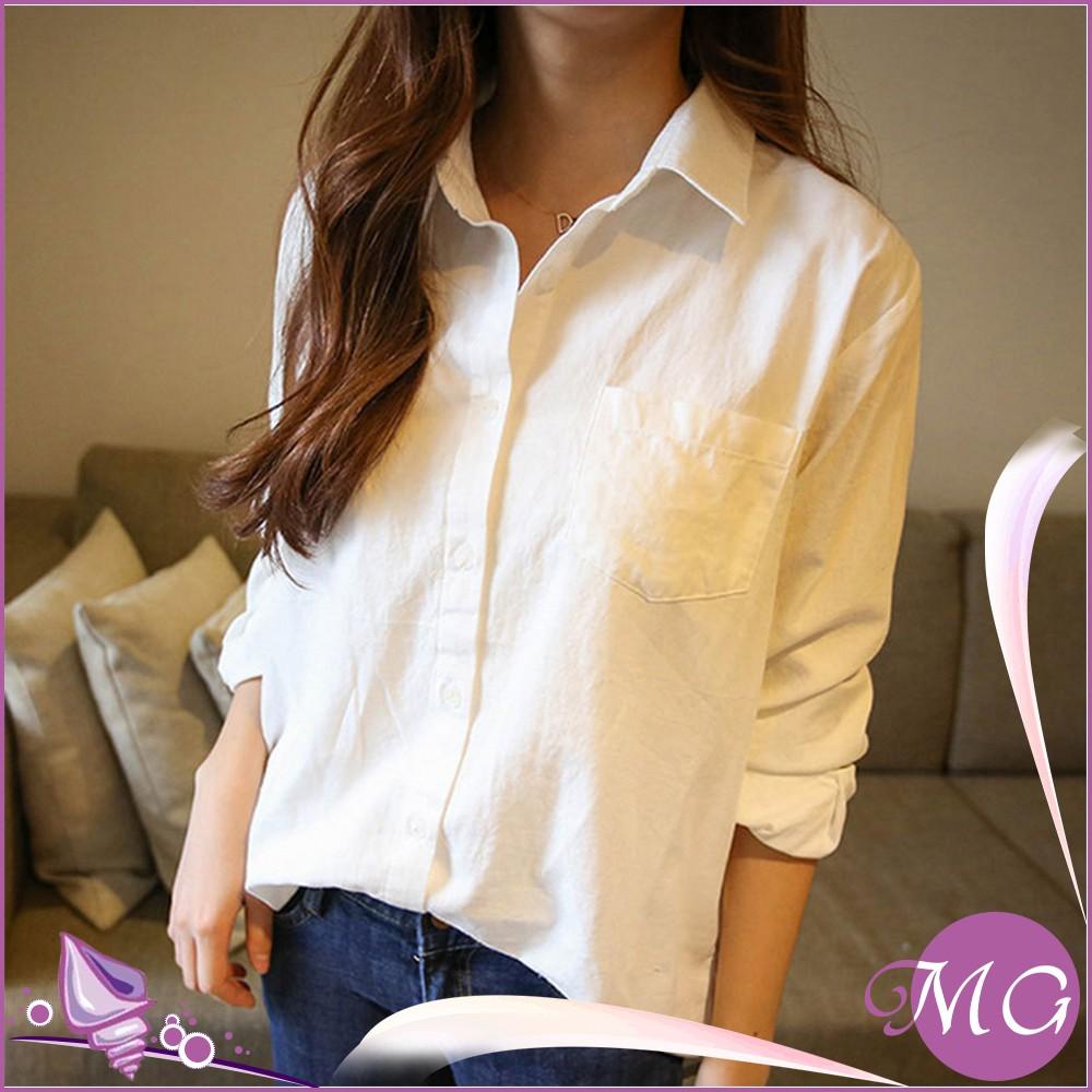 長袖大碼女裝棉麻寬鬆純棉休閒襯衣