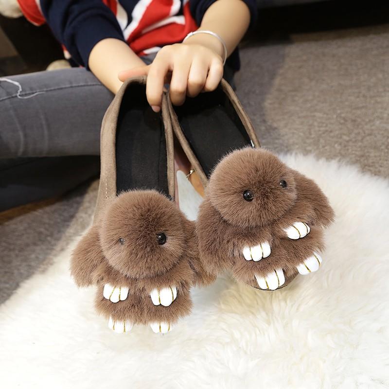 ~hello 大小姐~ 兔毛卡通立體兔子單鞋 鞋鞋懶人鞋低幫鞋平底鞋潮女鞋