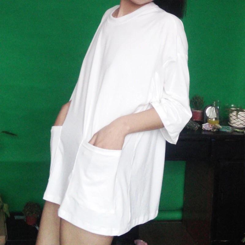 ~Ichigo Ichie ~✨韩版INS 款寬鬆大碼大件版口袋款復古七分袖中長款T 恤