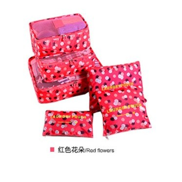 ~杰元 館~紅色花朵DINIWELL 加大加厚防水行李箱旅行衣物內衣整理分類收納袋六件套