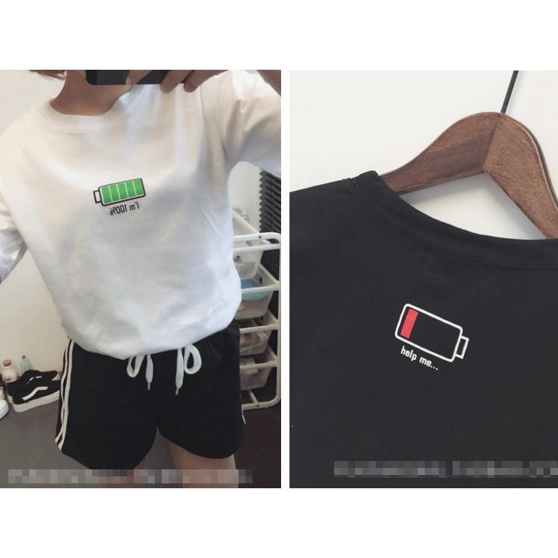 ~皇后私語日韓潮衣~韓國ulzzang 電池容量印花短袖T 恤學生│2 色 價