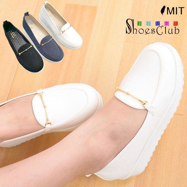 厚底鞋~鞋鞋俱樂部~~023 B616 ~.黑白藍.韓系簡約金屬裝飾厚底包鞋