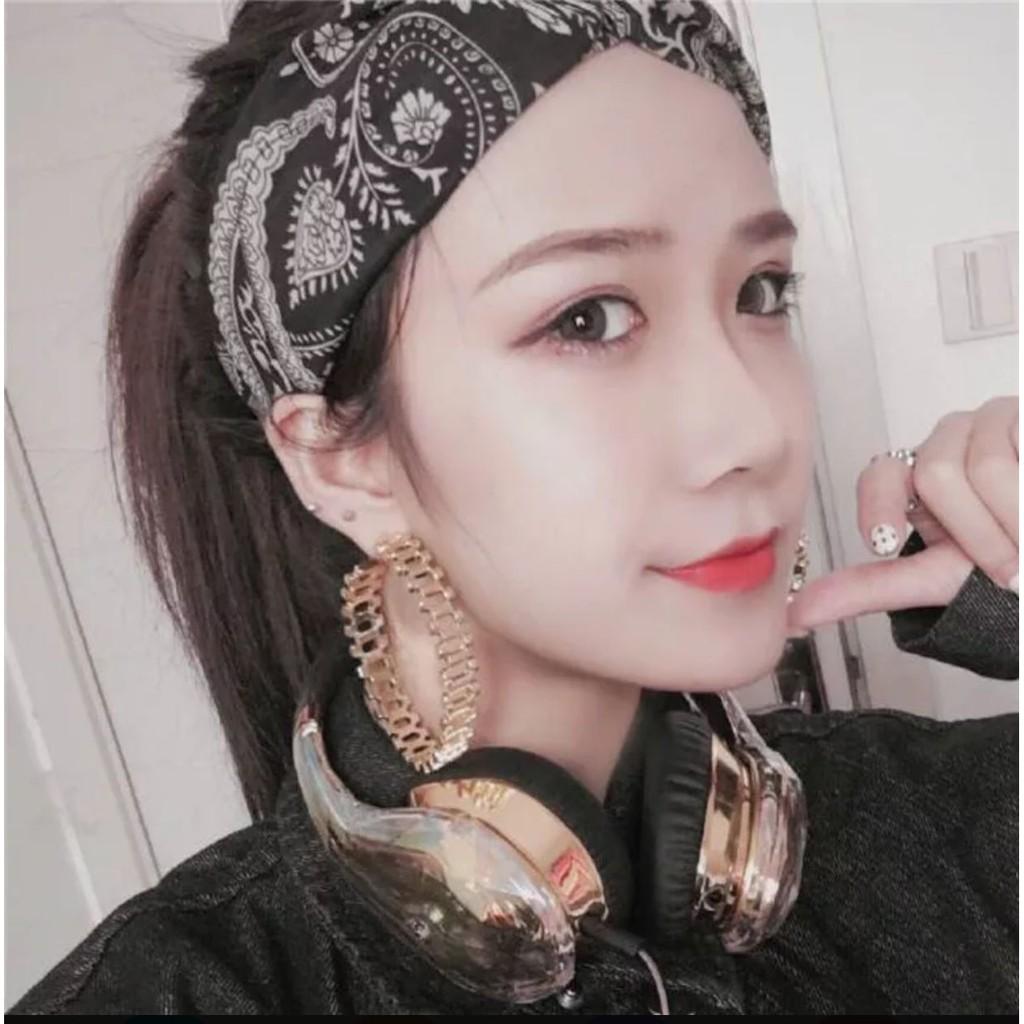 VIVI 日韓雜誌 款✨青花瓷民族風圖騰韓國交叉復古髮帶