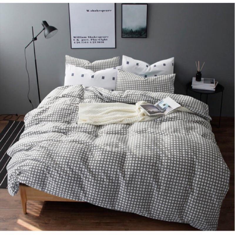 北歐簡約純棉格紋床包四件組床單被套枕套床組無印良品ikea zera