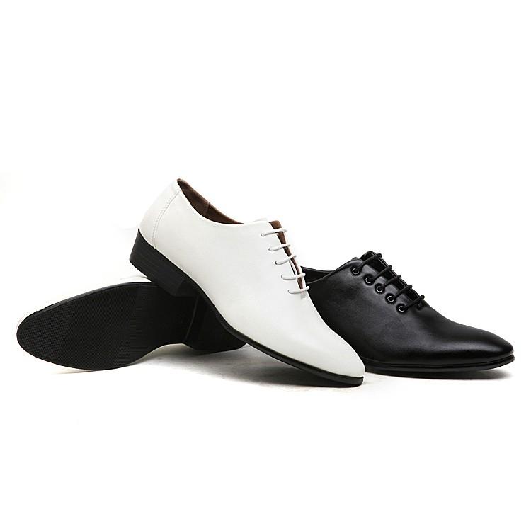 尖頭皮鞋男 休閒系帶真皮男鞋潮黑色內增高 商務皮鞋英倫