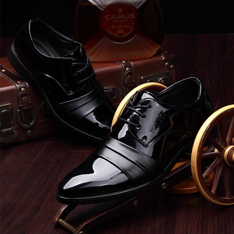 企鹅 館新品 男士皮鞋真皮2017  商務正裝男鞋英倫尖頭牛皮低幫鞋休閒鞋