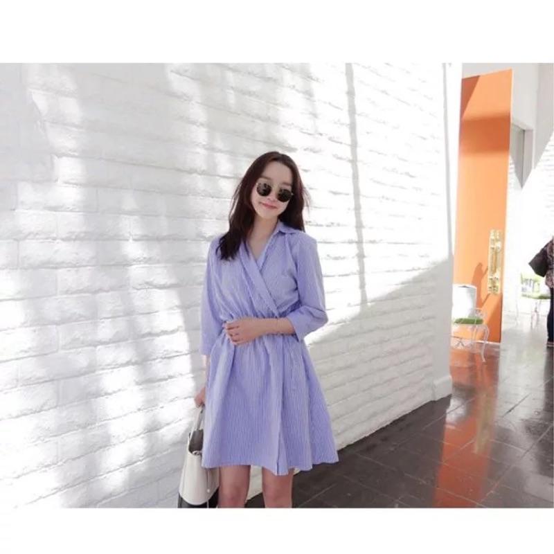 韓國東大門條紋襯衫七分袖連衣裙