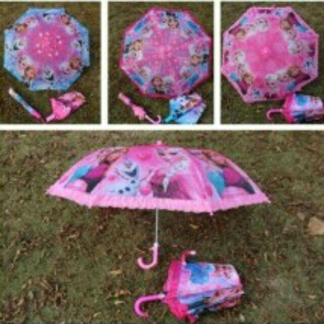 冰雪奇緣兒童傘冰雪公主卡通小學生折疊傘兒童雨傘女童太陽傘3 款機機出
