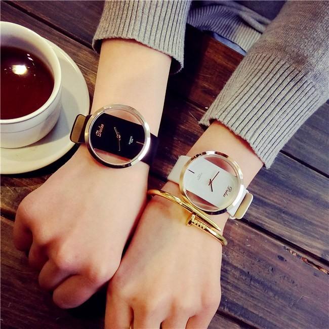 簡約 復古皮帶情侶手表雙面鏤空防水潮流男女中學生一對表