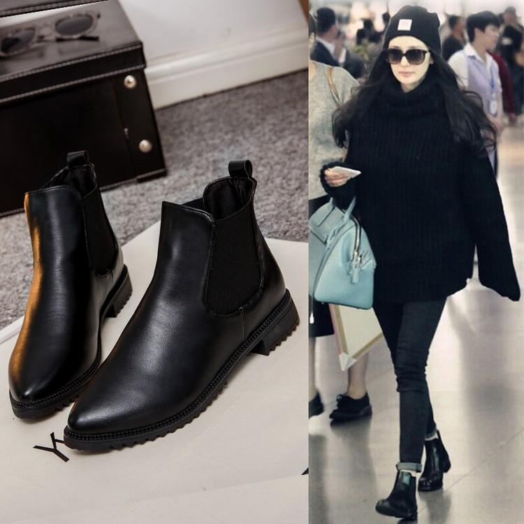 潮流街馬丁靴子女英倫風短靴女春秋單靴粗跟女靴及裸靴切爾西靴 女鞋