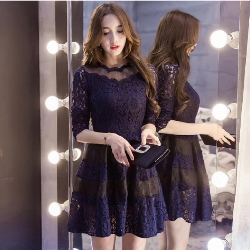 洋裝性感蕾絲拼接微透歐根紗OL 約會婚宴聚餐小禮服長袖洋裝連身裙2 色M XL ~G261